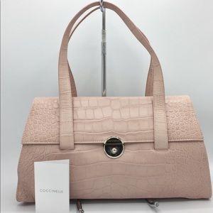 Vintage Coccinelle Pink Leather Emboss Croc Bag